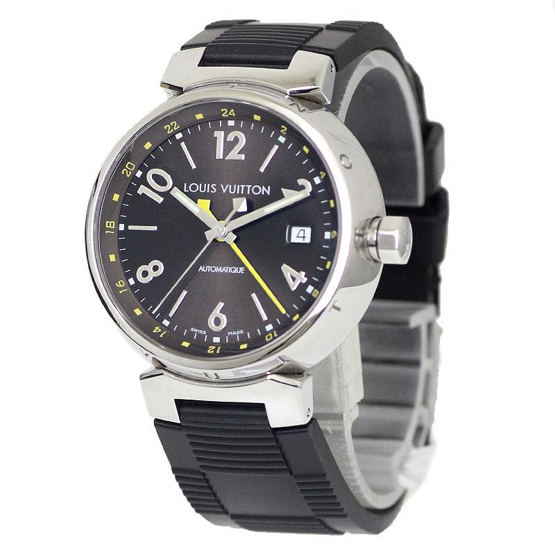 【最大3万円OFFクーポン配布開始♪ご利用は7/1(水)0時から】ルイ・ヴィトン タンブール GMT ラバーベルト 腕時計 Q1131【美品】