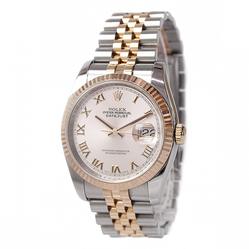 ロレックス デイトジャスト SS×PG750 コンビ メンズ 腕時計 D番 116231 【美品】