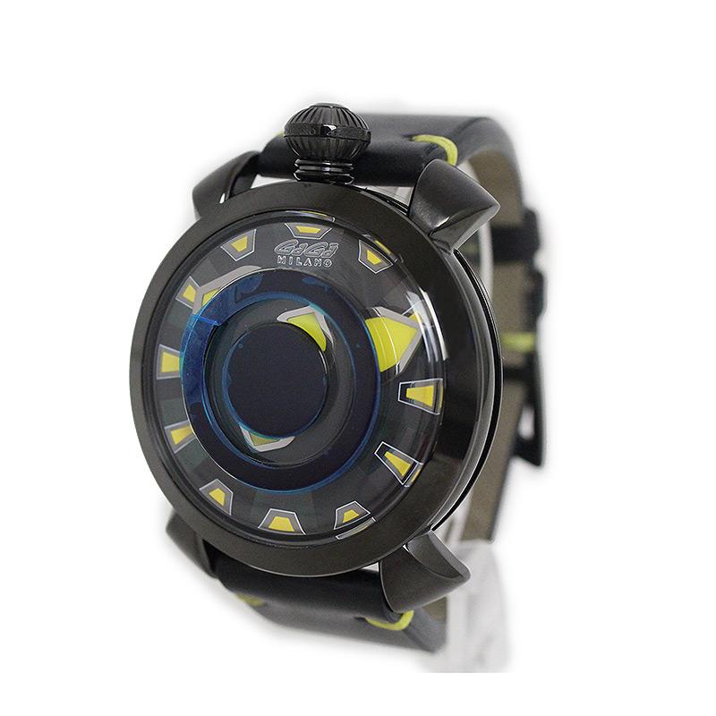 ガガミラノ ミステリューズ マヌアーレ 48MM 自動巻き 腕時計 gaga-909202 ブラック 黒【未使用 展示品】