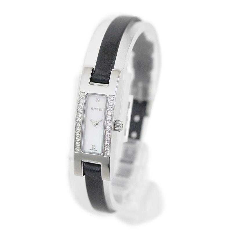 グッチ シェル文字盤 ダイヤベゼル レディース クォーツ 腕時計 3900L【美品】