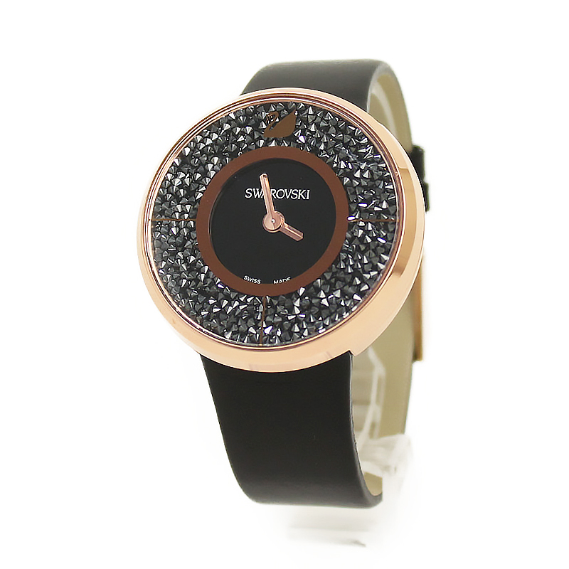 スワロフスキー クリスタルライン 腕時計 ブラック ピンクゴールド 5045371【新品・未使用品】