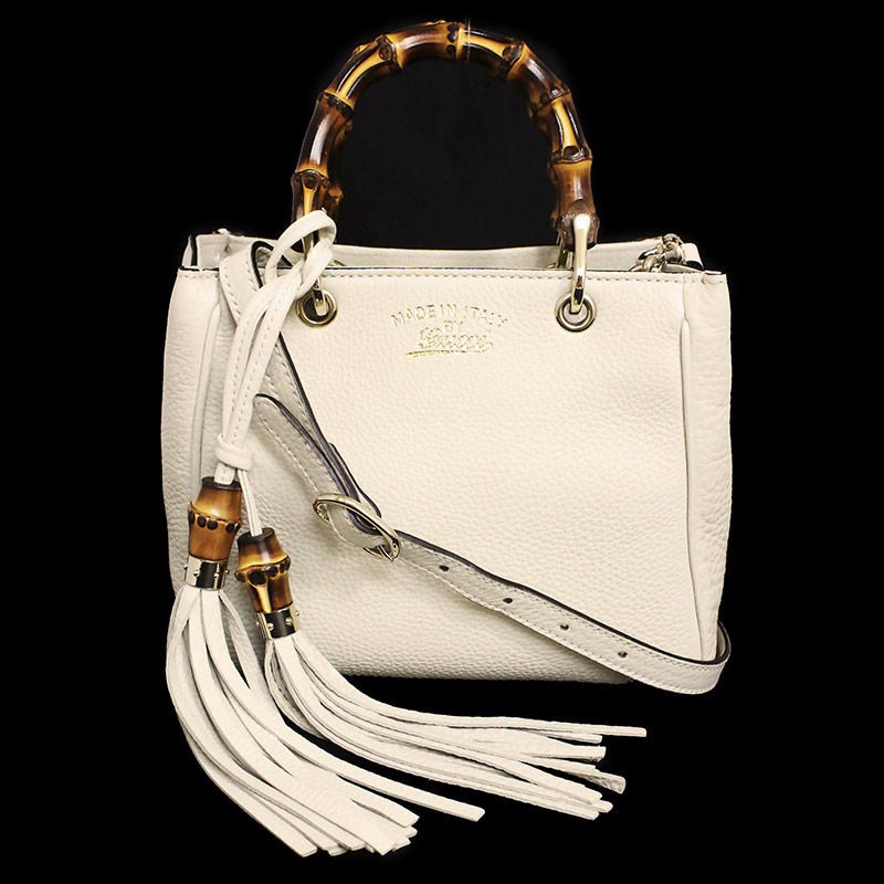 27047d551 Gucci bamboo shopper mini-steering wheel bag 368823 tassel charm off-white  belonging to ...