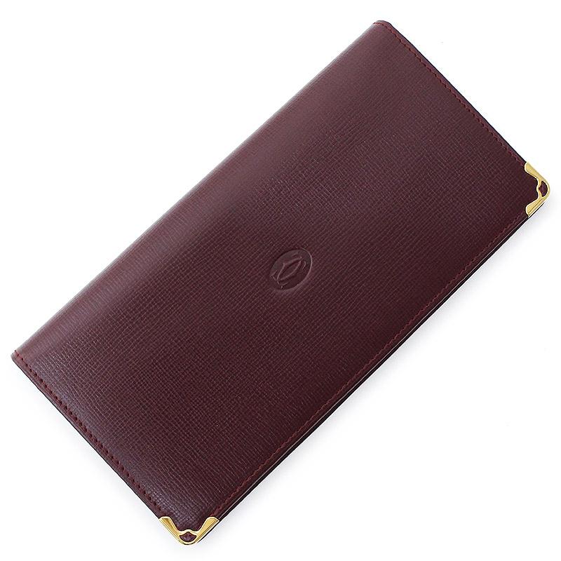 カルティエ マストライン 二つ折り長札入れ 財布 ボルドー L3000167【新品・未使用品】
