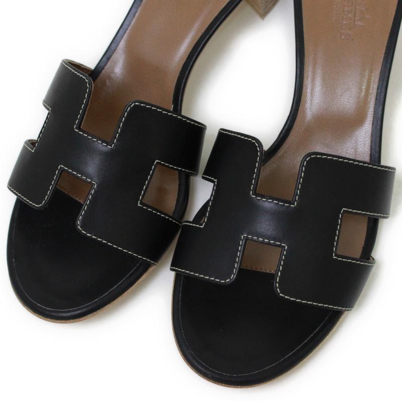 7dda920bc2eb BrandCity: Hermes oasis H sandals black 071002Z # 37   Rakuten ...