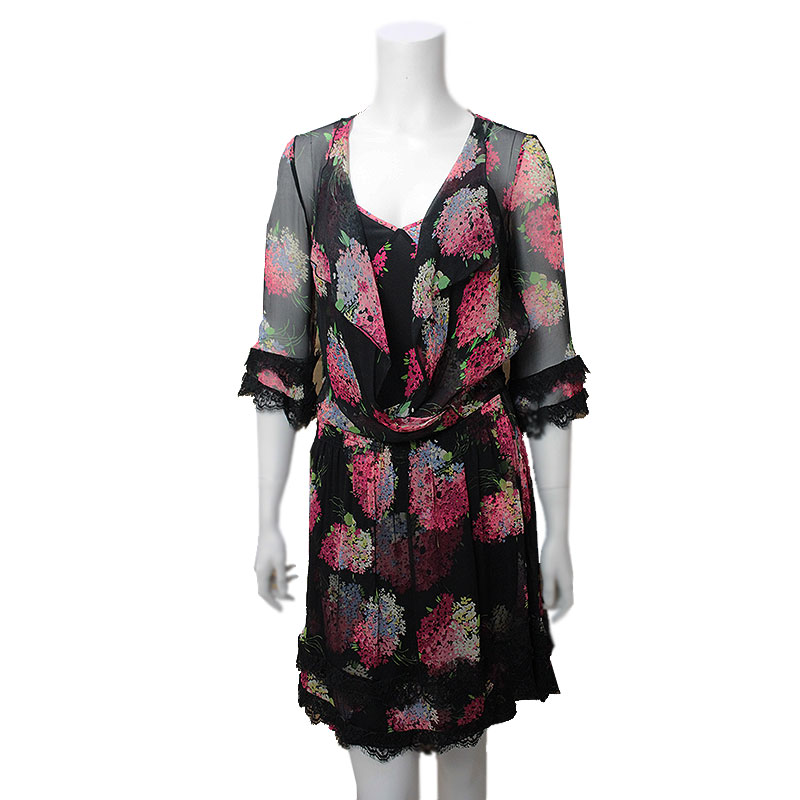 Brandcity Blue Girl Bloomers Phosphorus Silk Floral Design Dress 40