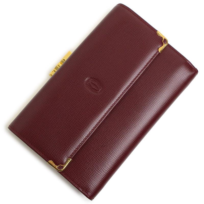 カルティエ マストライン 三つ折りがま口財布 ボルドー L3000162【新品・未使用品】