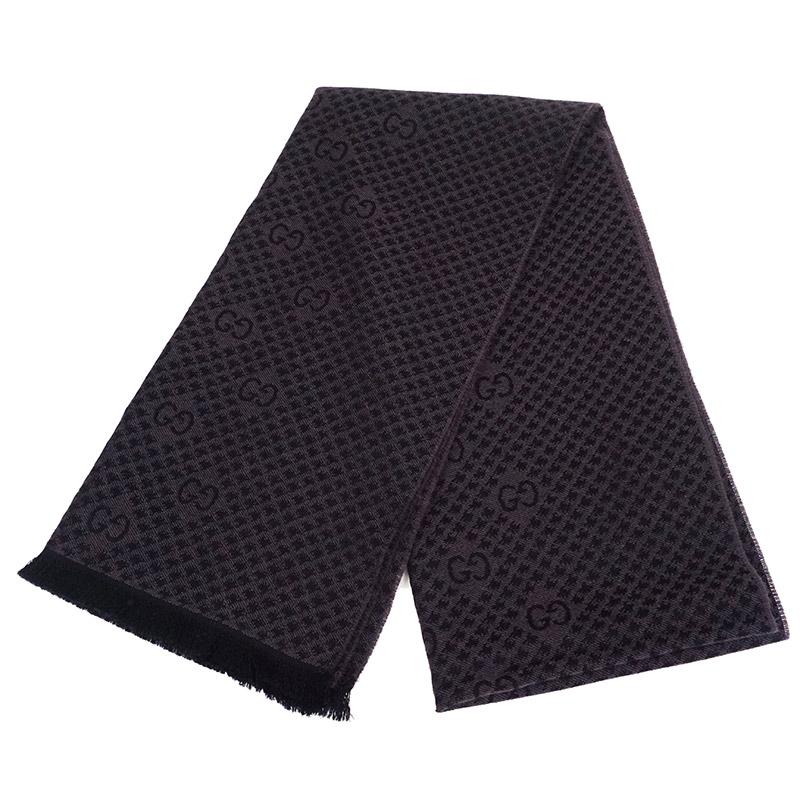 グッチ GGウール スカーフ マフラー 黒×茶【新品・未使用品】