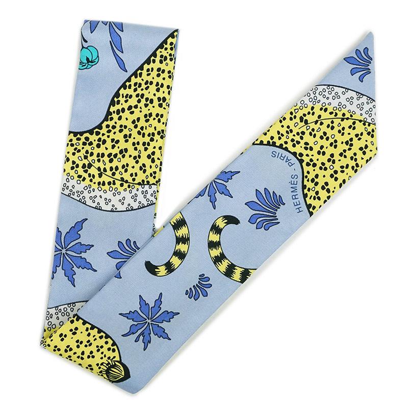 エルメス ツイリー リボンスカーフ シルク100% Les Leopards レオパード ブルー系 H062953S【新品・未使用品】