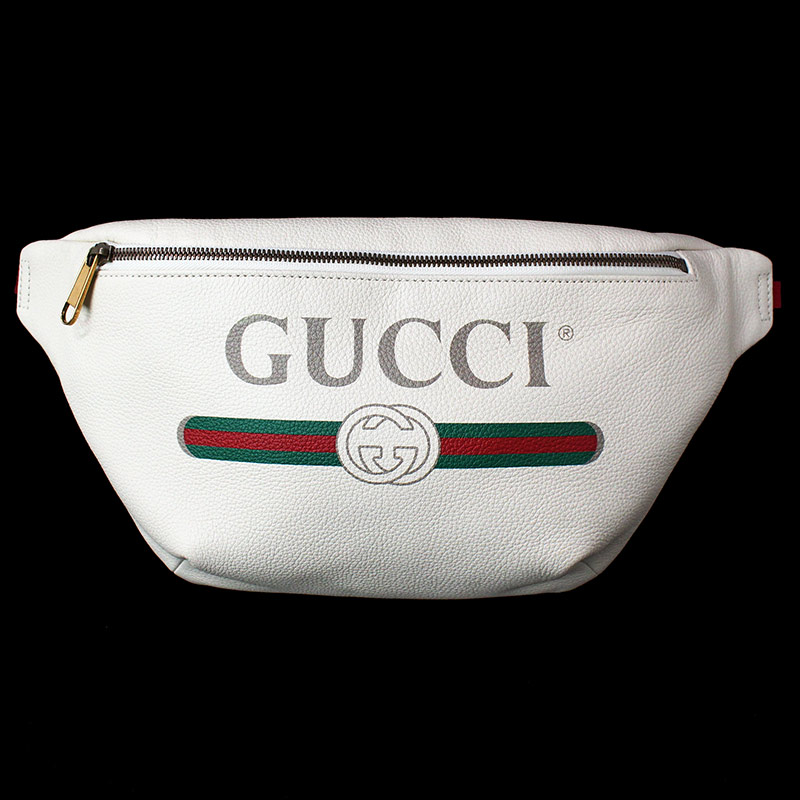 d86e9000321 BrandCity  Gucci print leather belt bag white white 493869