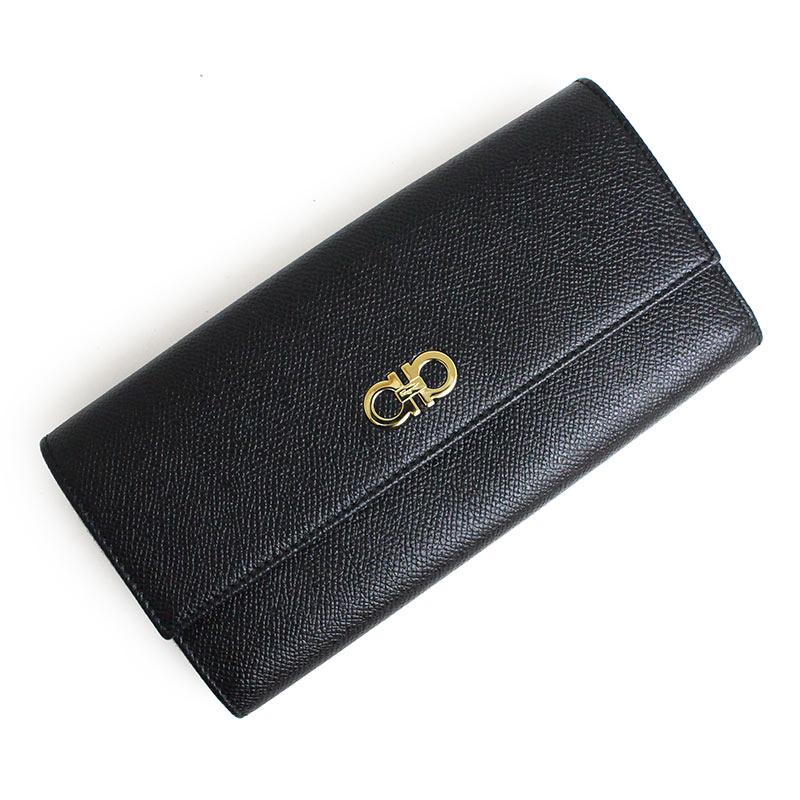 フェラガモ ガンチーニ 二つ折り長財布 パスケース付 22-D149 ブラック 黒【新品・未使用品】