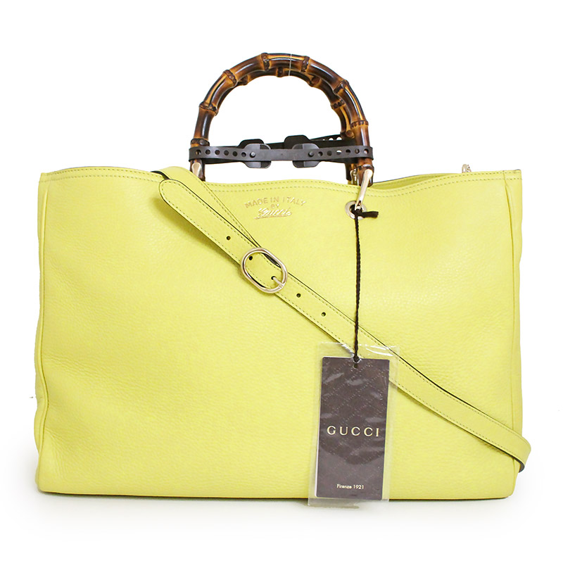 691c91f7f9edc3 BrandCity  Gucci bamboo shopper large 2WAY tote bag 323658 yellow ...