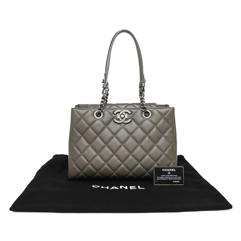 7a9a25c1e774 BrandCity  Chanel Quilted City Rock goat skin chain tote bag gray ...