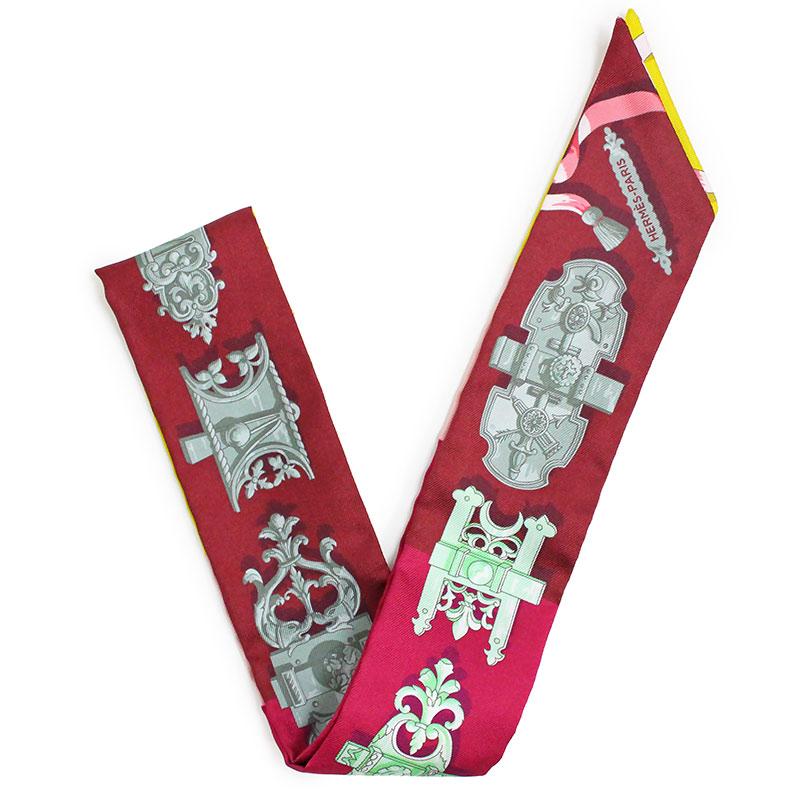 エルメス ツイリー リボンスカーフ シルク 100% FERRONERIE 鉄細工 061522S 08【新品・未使用品】