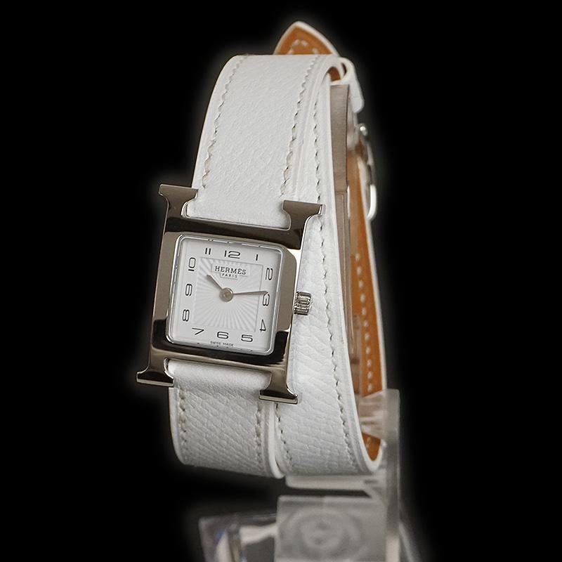 エルメス Hウォッチ ドゥブルトゥール 腕時計 □P刻 ホワイト 白 HH1.210【未使用 展示品】