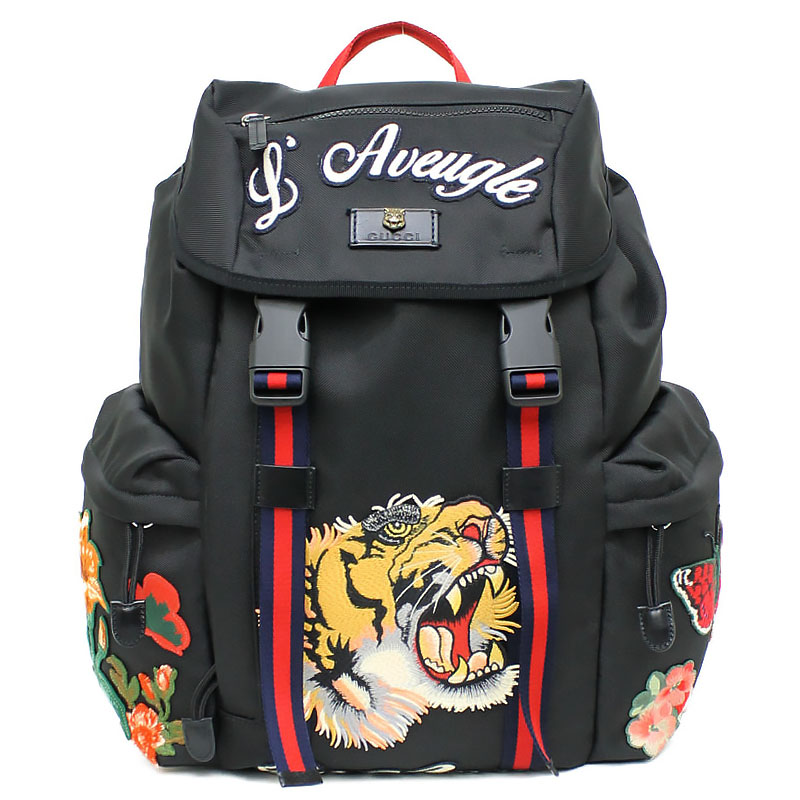 691f09232dc BrandCity  It is 429037 Gucci embroidery applique techno canvas backpack  black black