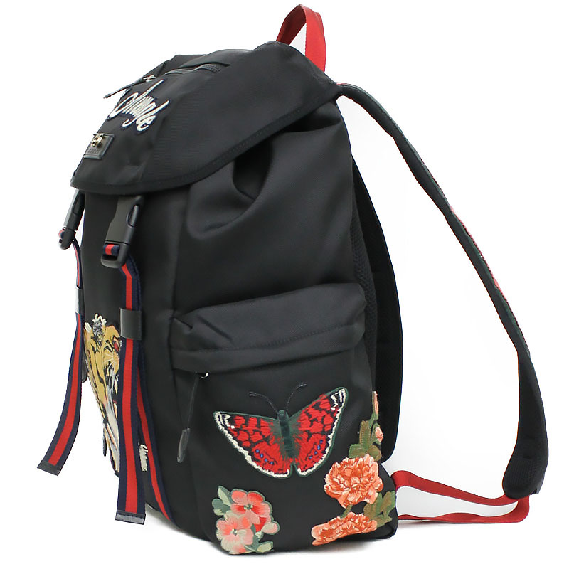 It is 429037 Gucci embroidery applique techno canvas backpack black black c2581db503278