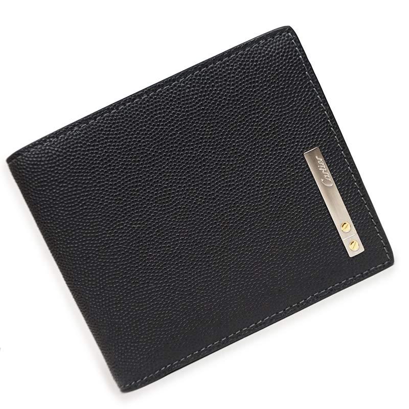 カルティエ サントス 二つ折り財布 札入れ ブラック 黒 L3000774 箱付【新品・未使用品】