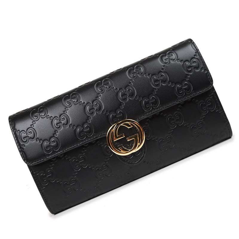 With 369,663 Gucci Gucci sima folio long wallet black black