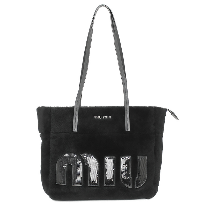 c0be48084d1d BrandCity: Tote bag black black 5BG147 with ミュウミュウシアリング ...