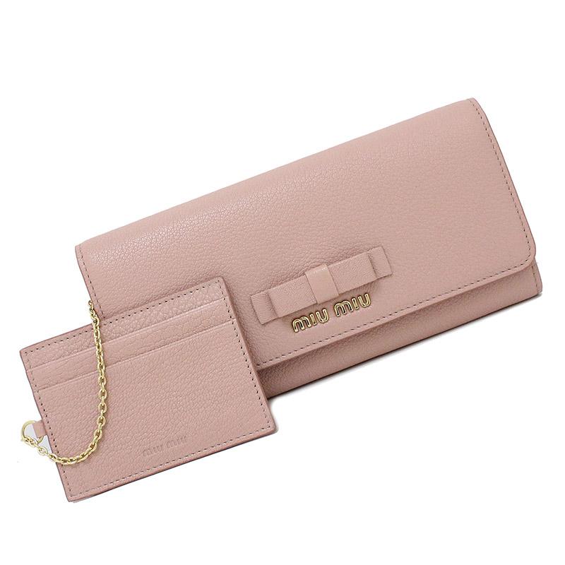 ミュウミュウ マドラス 二つ折り長財布 パスケース付き 5MH109 ピンク 【新品・未使用品】