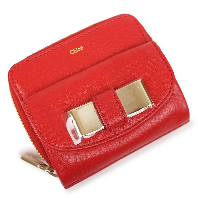 クロエ リリィ ラウンドファスナー 二つ折り財布 赤 レッド 3P0503 箱付【新品・未使用品】