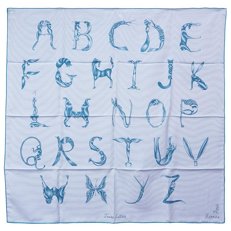 エルメス カレ 90 シルク 100% Faune Lettree アルファベットの動物誌 ブルー系 青系 H032799S 箱付【新品・未使用品】