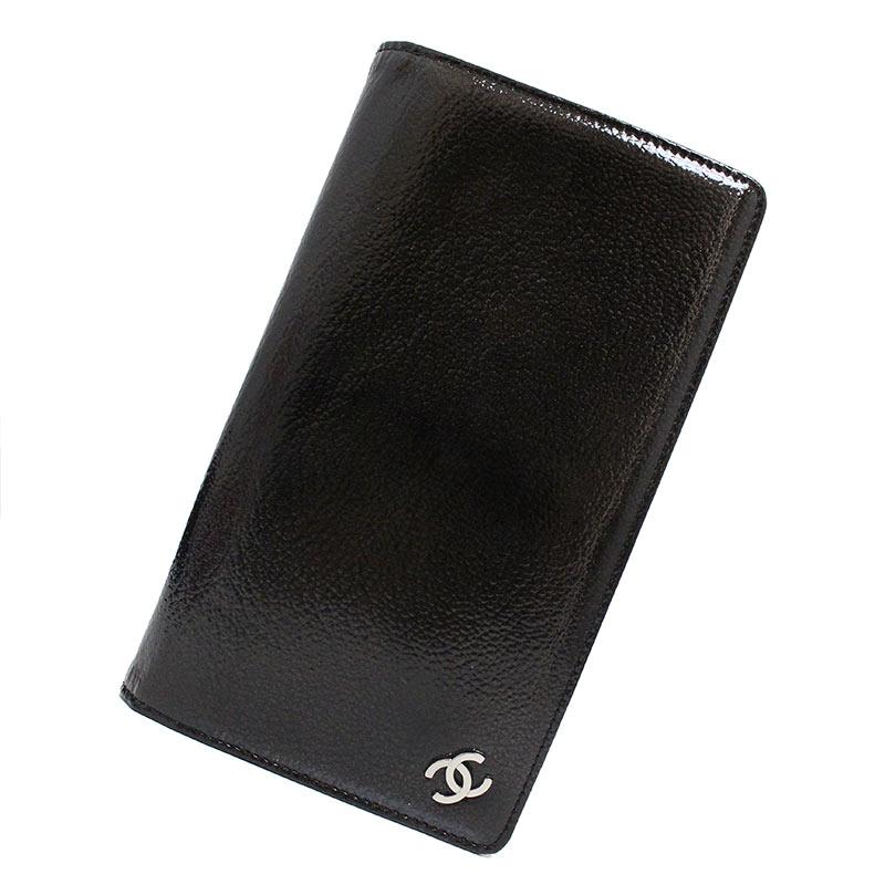 シャネル パテントレザー 二つ折り長財布 ブラック 黒 A36491 箱付【未使用 展示品】