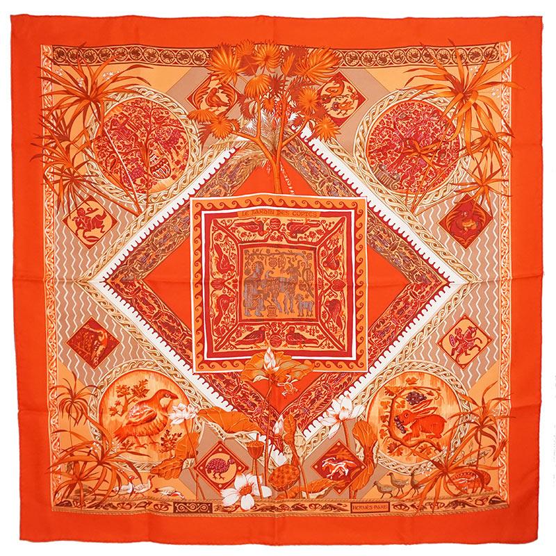 エルメス カレ 90 シルク 100% スカーフ LE JARDIN DES COPTES コプトの庭 オレンジ 箱付【新品・未使用品】