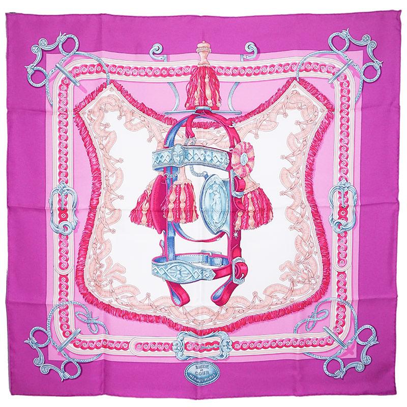 エルメス カレ 90 シルク 100% スカーフ BRIDE de COUR 馬具柄 ピンク系 H001517S 箱付【新品・未使用品】