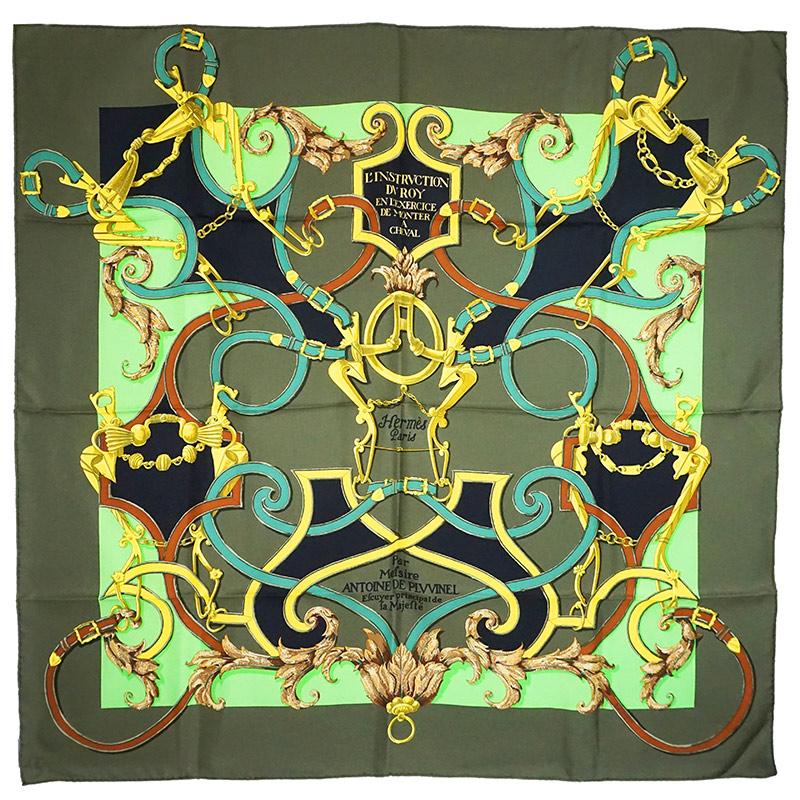 エルメス カレ 90 シルク 100% スカーフ Par Mefsire ANTOINE DE PLVVINEL グリーン 緑 H001761S 箱付【新品・未使用品】