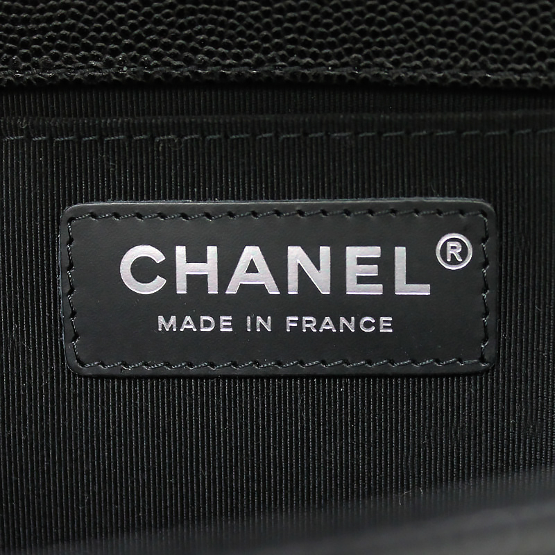 31f496327af1ad ... With Chanel boy Chanel caviar skin chain shoulder bag black black  A67086 box ...