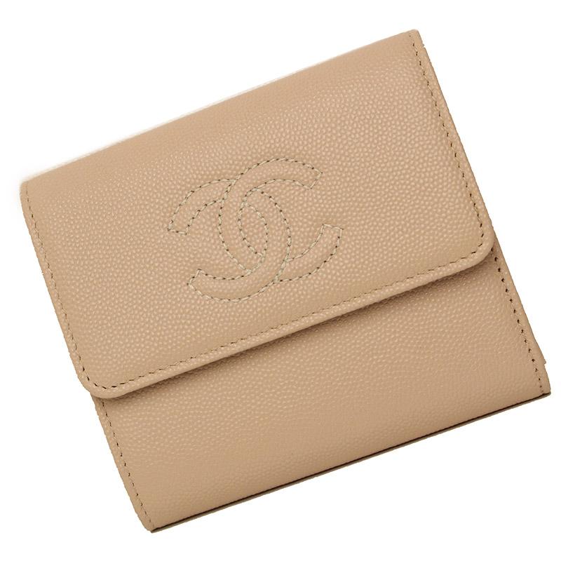 シャネル キャビアスキン 三つ折り財布 ベージュ A84072 箱付【未使用 展示品】
