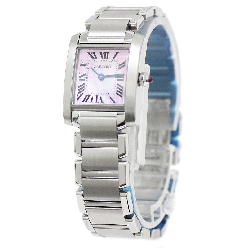 カルティエ タンクフランセーズ SM レディース 腕時計 ピンクシェル W51028Q3 箱付 【未使用 展示品】