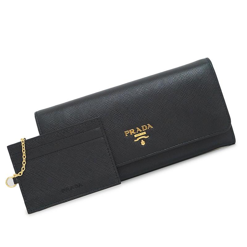 プラダ サフィアーノ 二つ折り長財布 パスケース付 ブラック 黒 1MH132 箱付【新品・未使用品】
