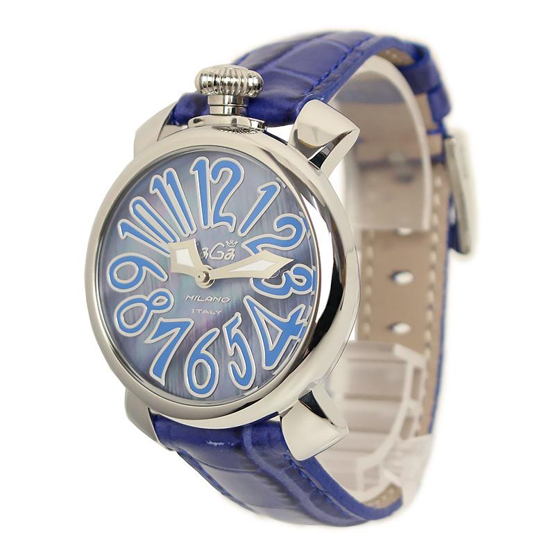 ガガミラノ マヌアーレ 40MM 腕時計 QZ 5020.11 ブルー系 箱付【美品】