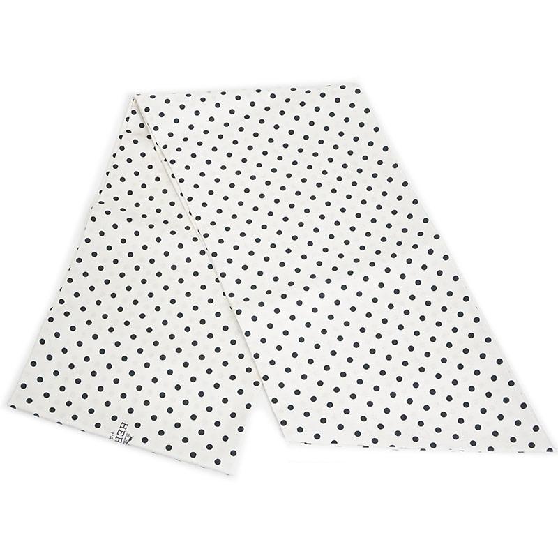 エルメス マキシ・ツイリー・カット リボンスカーフ シルク 100% ドット柄 ホワイト 白 H099882S 箱付【新品・未使用品】