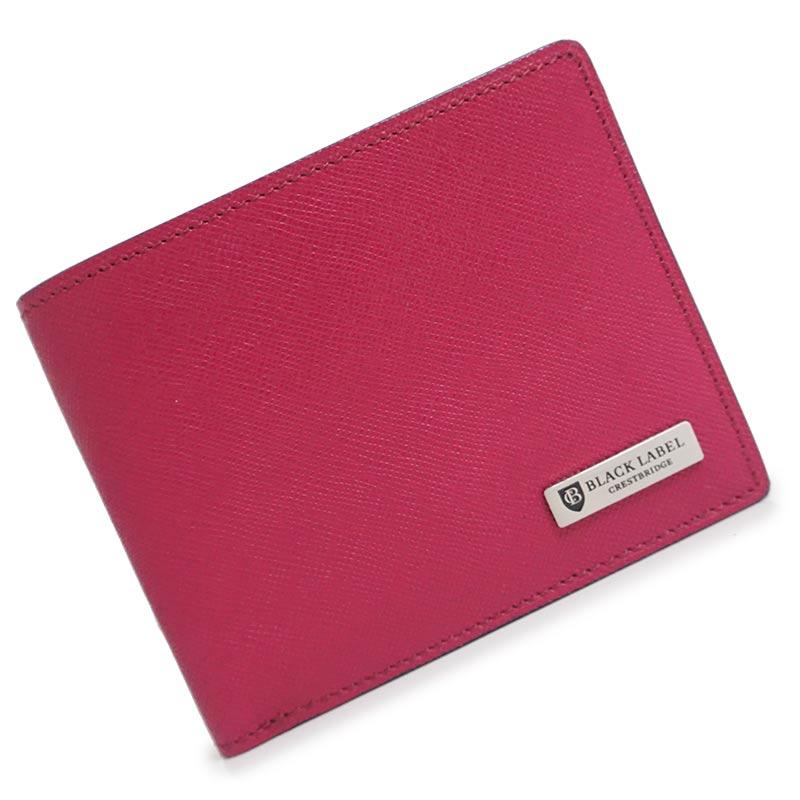 バーバリー ブラックレーベル クレストブリッジ レザー 二つ折り財布 ピンク×ネイビー 箱付【新品・未使用品】