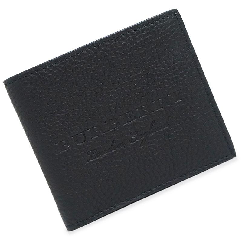バーバリー レザー 二つ折り財布 黒 ブラック 40585541 箱付【新品・未使用品】