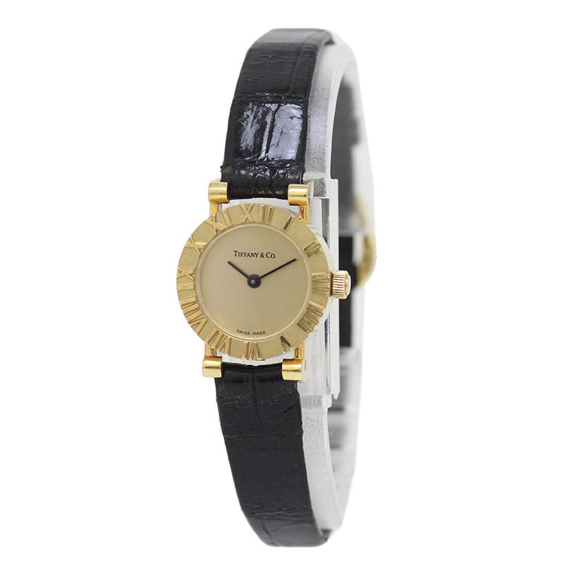 ティファニー K18YG アトラス D286.753 レディース 腕時計 レザーベルト 【美品】