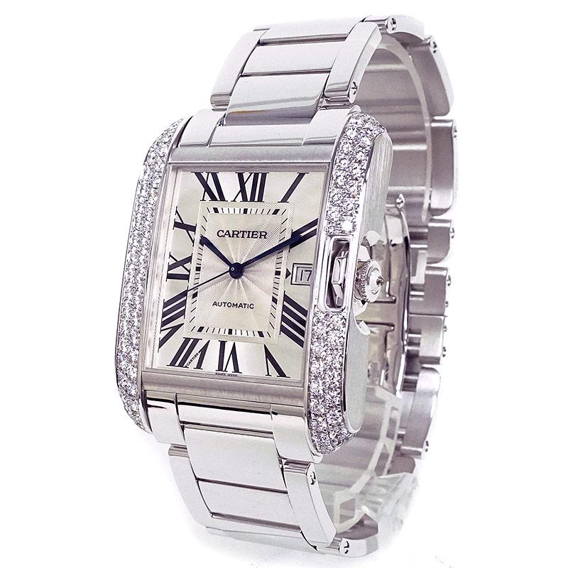カルティエ タンクアングレーズ XL WT100010 WG750 ダイヤ メンズ 腕時計 箱付【美品】
