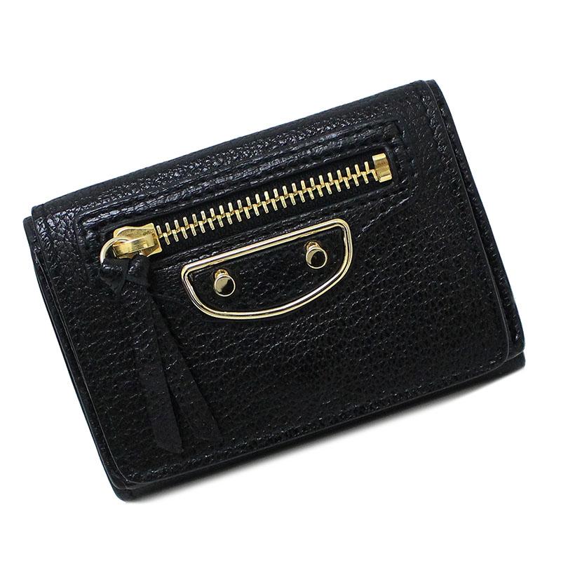 バレンシアガ ミニ 三つ折り財布 ブラック 黒 470059 AQ40G 【新品・未使用品】