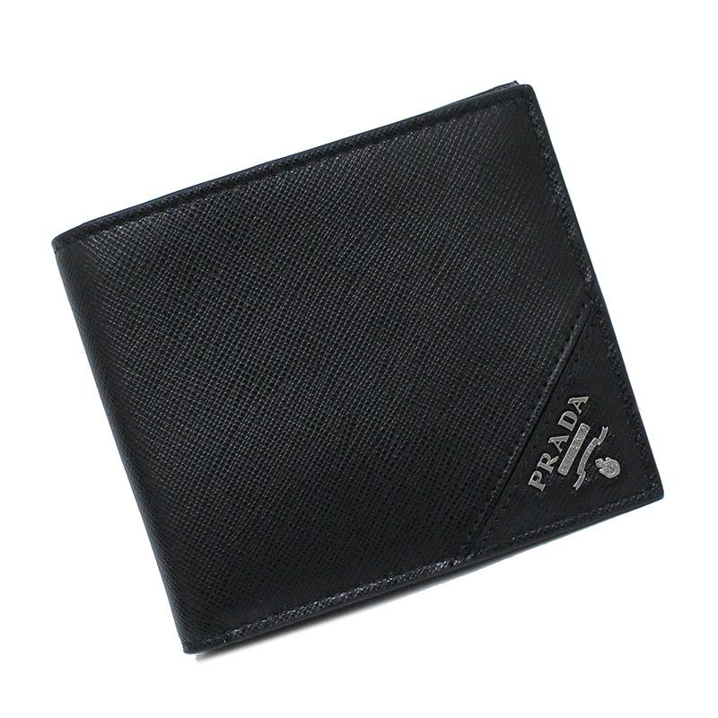 プラダ サフィアーノ 二つ折り財布 ブラック 2MO513 箱付【新品・未使用品】