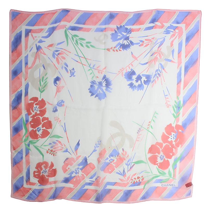 シャネル シルク100% スカーフ 花柄 赤×白 カメリア W84cm×H84cm【新品・未使用品】