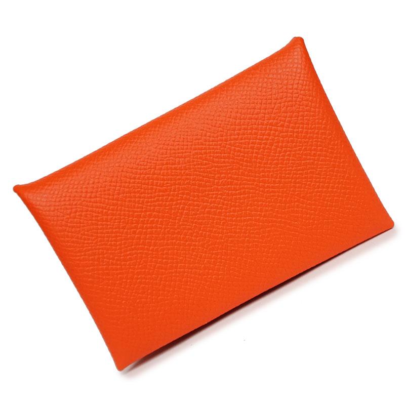 エルメス カルヴィ カードケース エプソン オレンジ T刻印 H044164CK 箱付【新品・未使用品】