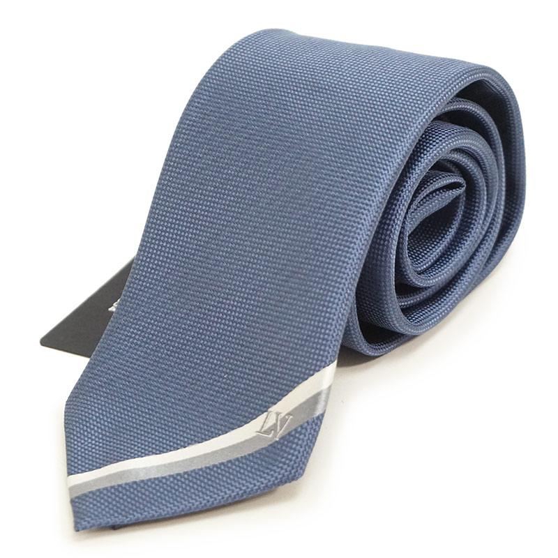 ルイ・ヴィトン クラヴァット LVヒストリー 7CM シルク 100% ネクタイ M70996 ブルー 青 箱付【新品・未使用品】