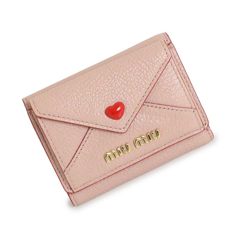 ミュウミュウ マドラス ラブ 三つ折り ミニ 財布 5MH021 ピンク 箱付【新品・未使用品】