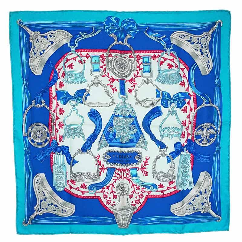 エルメス カレ 45 シルク 100% スカーフ ETRIERS 鐙 ブルー 青 H891409S 箱付【新品・未使用品】