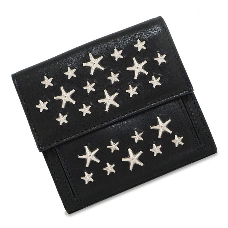 ジミーチュウ スタッズ Wホック 二つ折財布 FRIDA ブラック 黒 箱付【新品・未使用品】