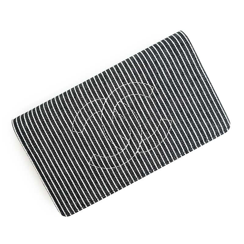 シャネル デニム ココマーク ストライプ 二つ折り長財布 ブラック×ホワイト A48651 箱付【新品・未使用品】
