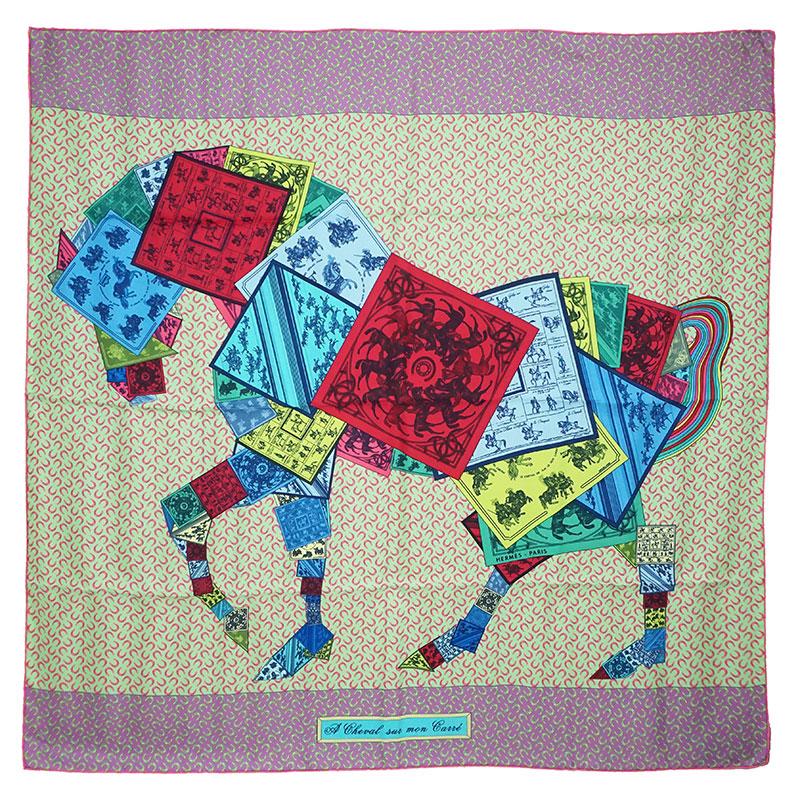エルメス カレ 90 シルク 100% スカーフ A Cheval sur mon Carre カレの馬に乗って H002358S 箱付【新品・未使用品】